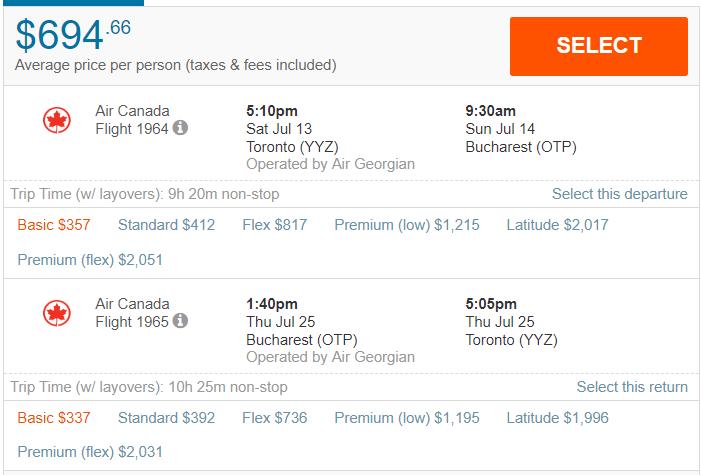 $694, Bucharest, July | Toronto | Yulair